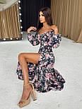 Цветочное платье cо спущенными плечами и объемными рукавами с разрезом на ноге (р. S-M) 66032672Е, фото 8