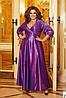 Розкішна блискуча довга вечірня сукня на запах з глибоким вирізом, батал великі розміри, фото 10