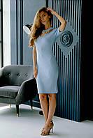Женское летнее голубое платье с цепью трикотаж рубчик Crop Top (91796) Турция размер S/M