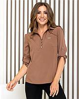 Блуза- рубашка  женская арт 828, цвет кофе