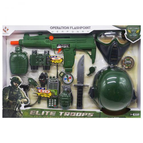 Дитячий набір військового з автоматом, маскою і каскою, Elite Troops
