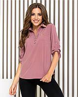 Блуза- рубашка  женская арт 828, цвет фреза/темная пудра