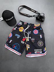 Чоловічі шорти з написом Chicago bulls (чорні) стильні на літо ssl12