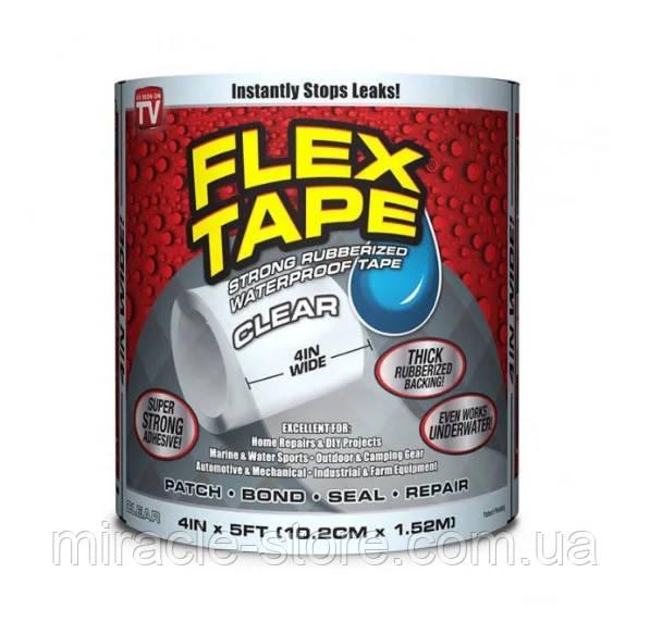 Скотч лента Flex Tape сверхпрочная водонепроницаемая 10х150 см прозрачная
