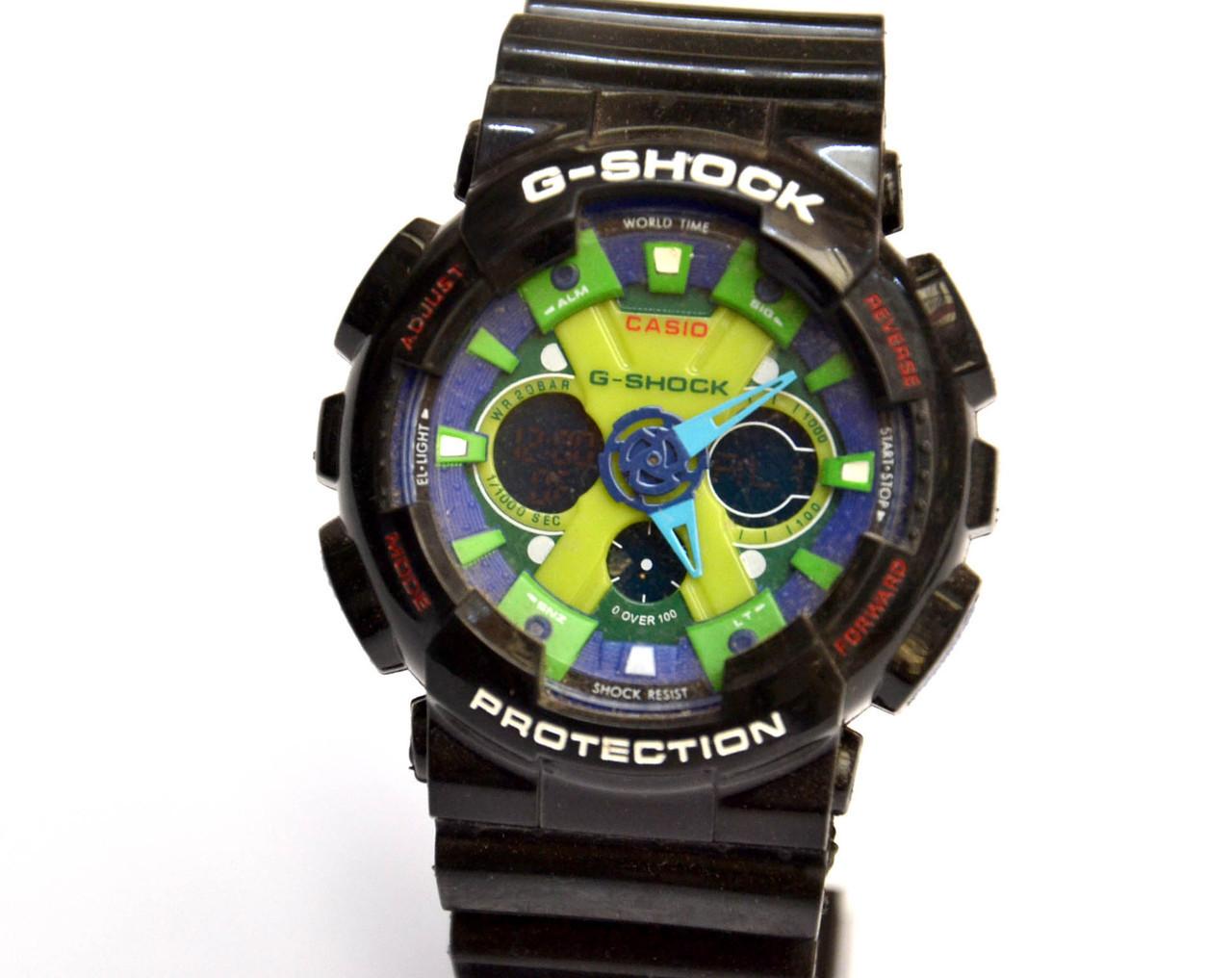 Наручний годинник GA-200 чорні з салатовим