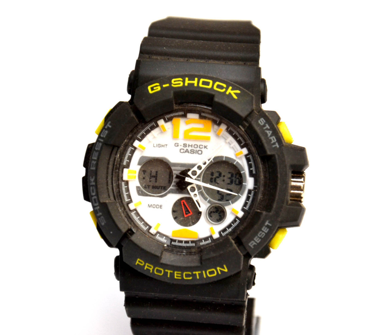 Наручний годинник Protection чорні з жовтим і білим