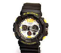 Наручний годинник Protection чорні з жовтим і білим, фото 1