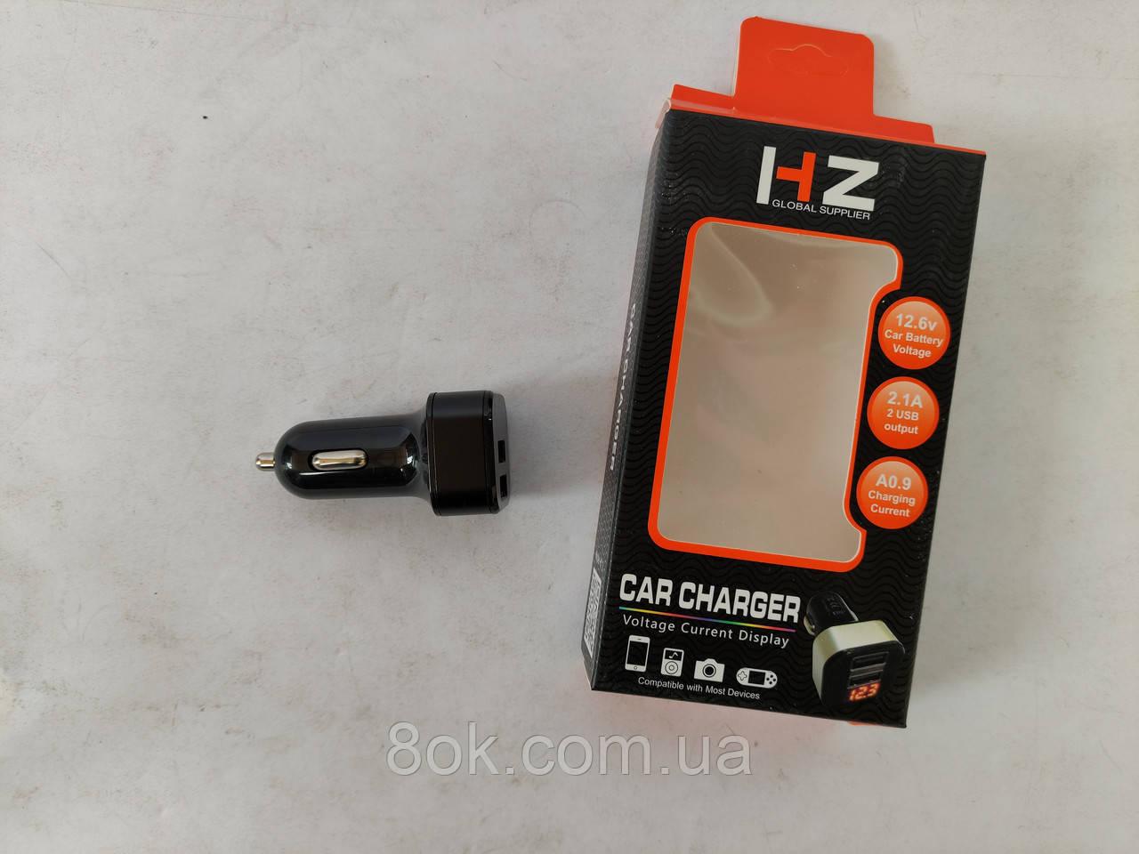 Автомобильная USB зарядка от прикуривателя с экраном HZ CAR CHARGER 3101