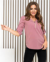 Блузка на молнии, модель158, цвет ФРЕЗА/темная пудра