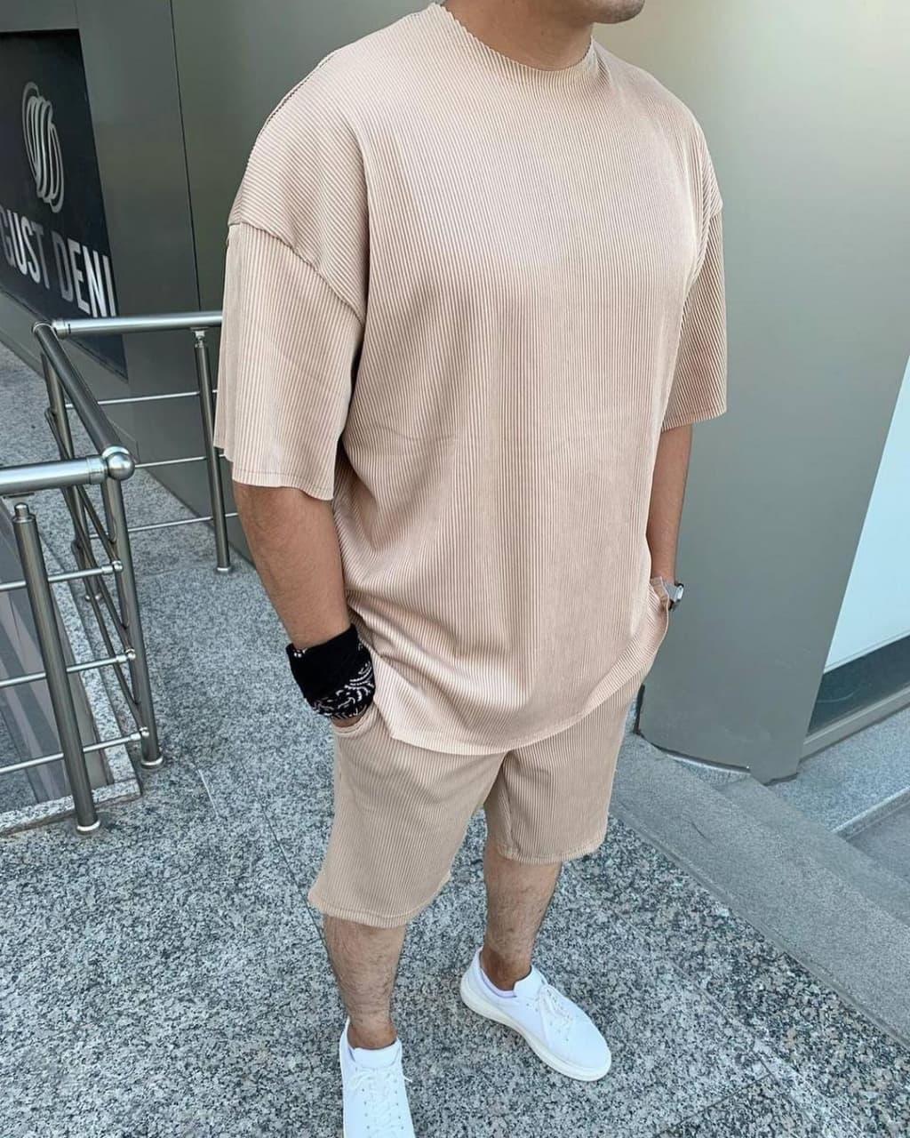 Чоловічий комплект шорти + футболка (бежевий) однотонний легкий на літо sk72