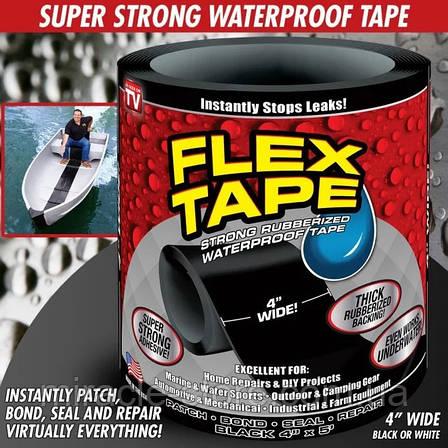 Скотч стрічка Flex Tape надміцна водонепроникна 10х150 см чорна, фото 2