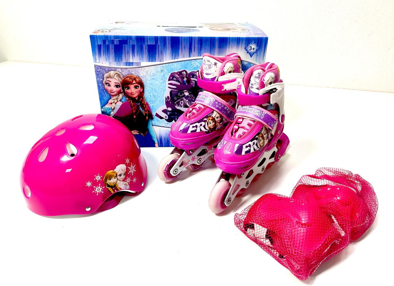 Детские ролики комплект размер 26-29 и 30-33 и 34-37  Мультяшные герои розовый цвет