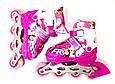Детские ролики комплект размер 26-29 и 30-33 и 34-37  Мультяшные герои розовый цвет, фото 4