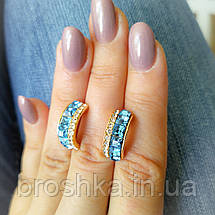 Серьги бижутерия xuping с голубыми камнями, фото 3