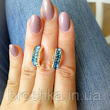 Серьги бижутерия xuping с голубыми камнями, фото 2