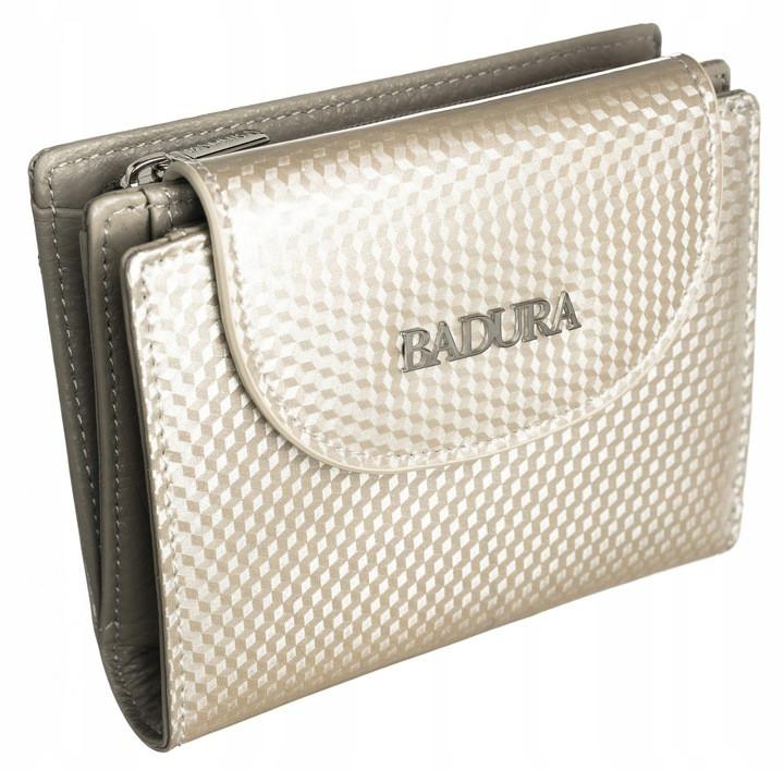 Жіночий шкіряний гаманець Badura з RFID 9,5 х 11,5 х 3 (B-41373P-SBR) - бежевий