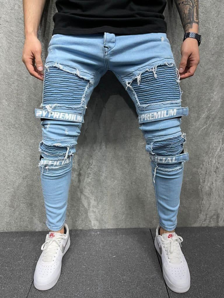 Мужские зауженные джинсы official premium (голубые) рваные с вырезами на лето s6135