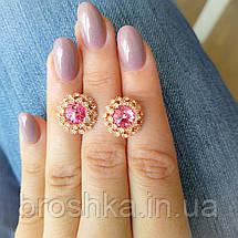 Позолоченные серьги бижутерия с розовыми Swarovski, фото 3