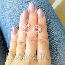 Позолоченные серьги бижутерия с розовыми Swarovski, фото 2