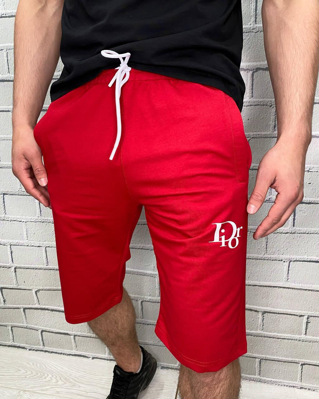 Шорты мужские трикотажные Красного цвета на шнуровке Брендовые