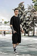 Мужской спортивный комплект оверсайз летний костюм шорты и футболка черный OVERSIZE