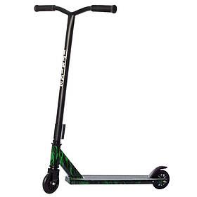 Дитячий трюковий самокат (колеса PU 100 мм, руль85см, алюм+сталь) iTrike SR 2-066-4-WP3 Чорно-зелений