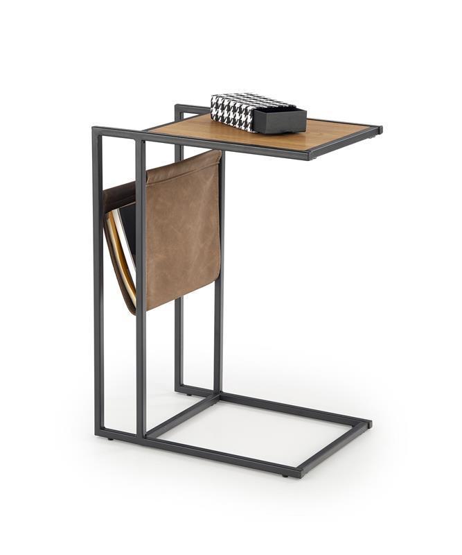 Журнальний стіл COMPACT золотий дуб/чорний (47х33х65) Halmar