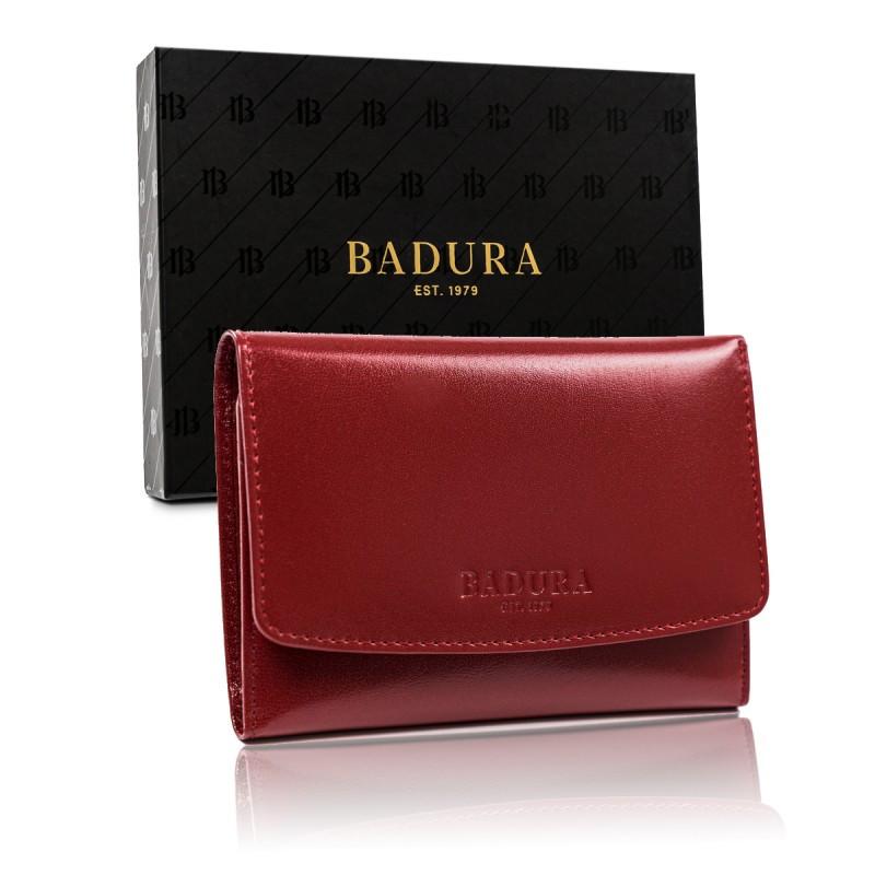 Жіночий шкіряний гаманець Badura з RFID 10 х 14 х 2,5 (PO_D110CR_CE) - червоний