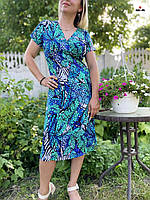 Сукня жіноча літнє батальне вільного крою віскоза сині 48-58р.