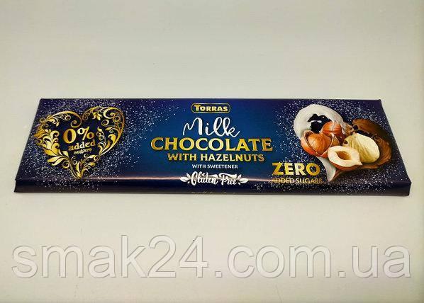 Шоколад молочный без сахара и глютена Торрас с фундуком Torras Zero Milk Huzelnuts 300 г Испания
