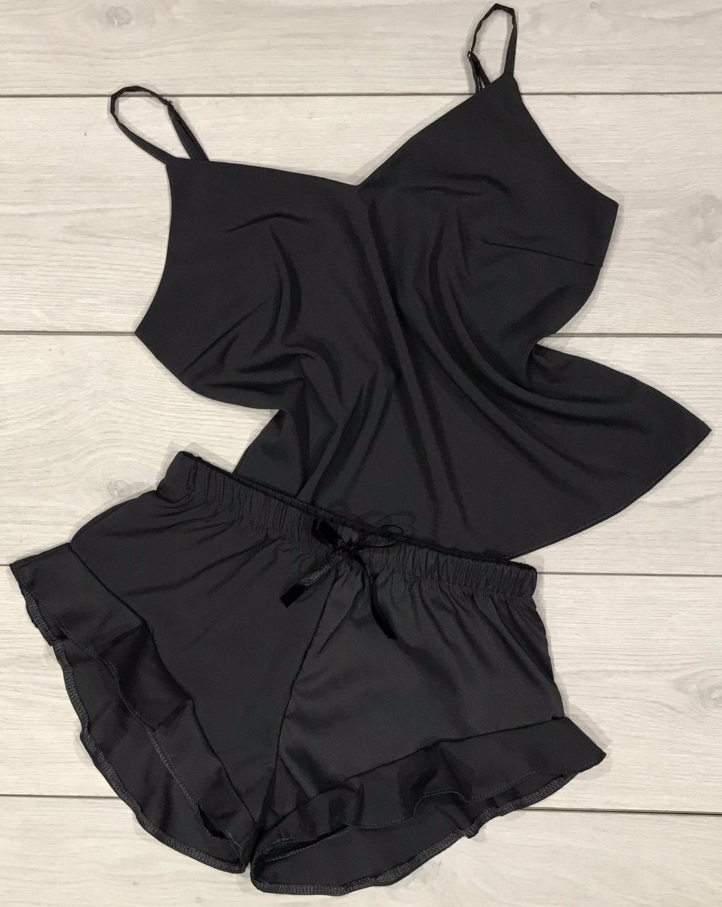 Темно-сіра піжама, комплект майка шорти