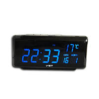 Настольные часы будильник, модель 762W-5, синее LED-табло, календарь/термометр/таймер