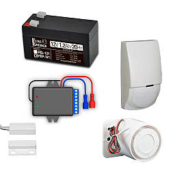 Комплект охранной GSM сигнализации с GSM OKO-SX, датчиком движения, герконом, сиреной, аккумулятором