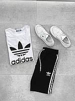 Мужской спортивный костюм Adidas (черно-белый) А6507 стильная одежда