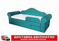 Кровать диван с мягкой обивкой и выездным ящиком Melani  Бирюзовый