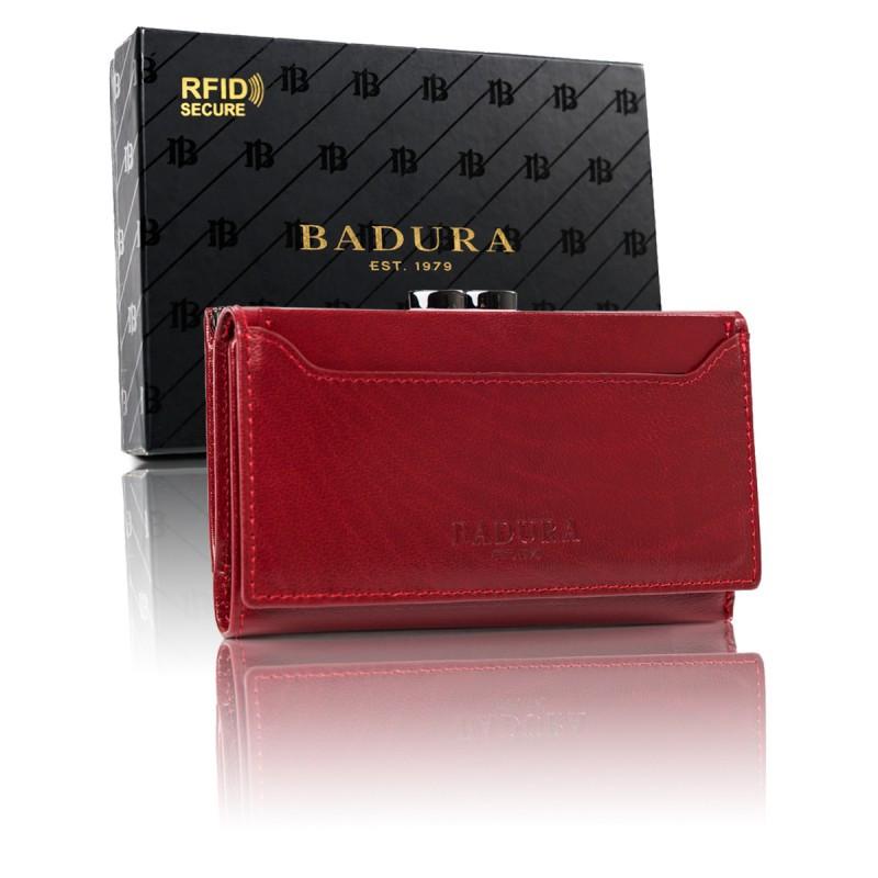 Жіночий шкіряний гаманець Badura з RFID 8,5 х 14,5 х 3,5 (PO_D101CR_CE) - червоний