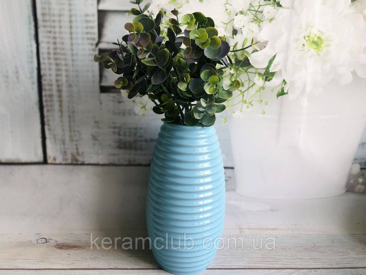 Настільна ваза Керамклуб Ізабелла в блакитному кольорі h 25 см