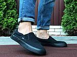 Мужские кеды Vans (черные) B10572 удобная легкая обувь без шнурков, фото 6