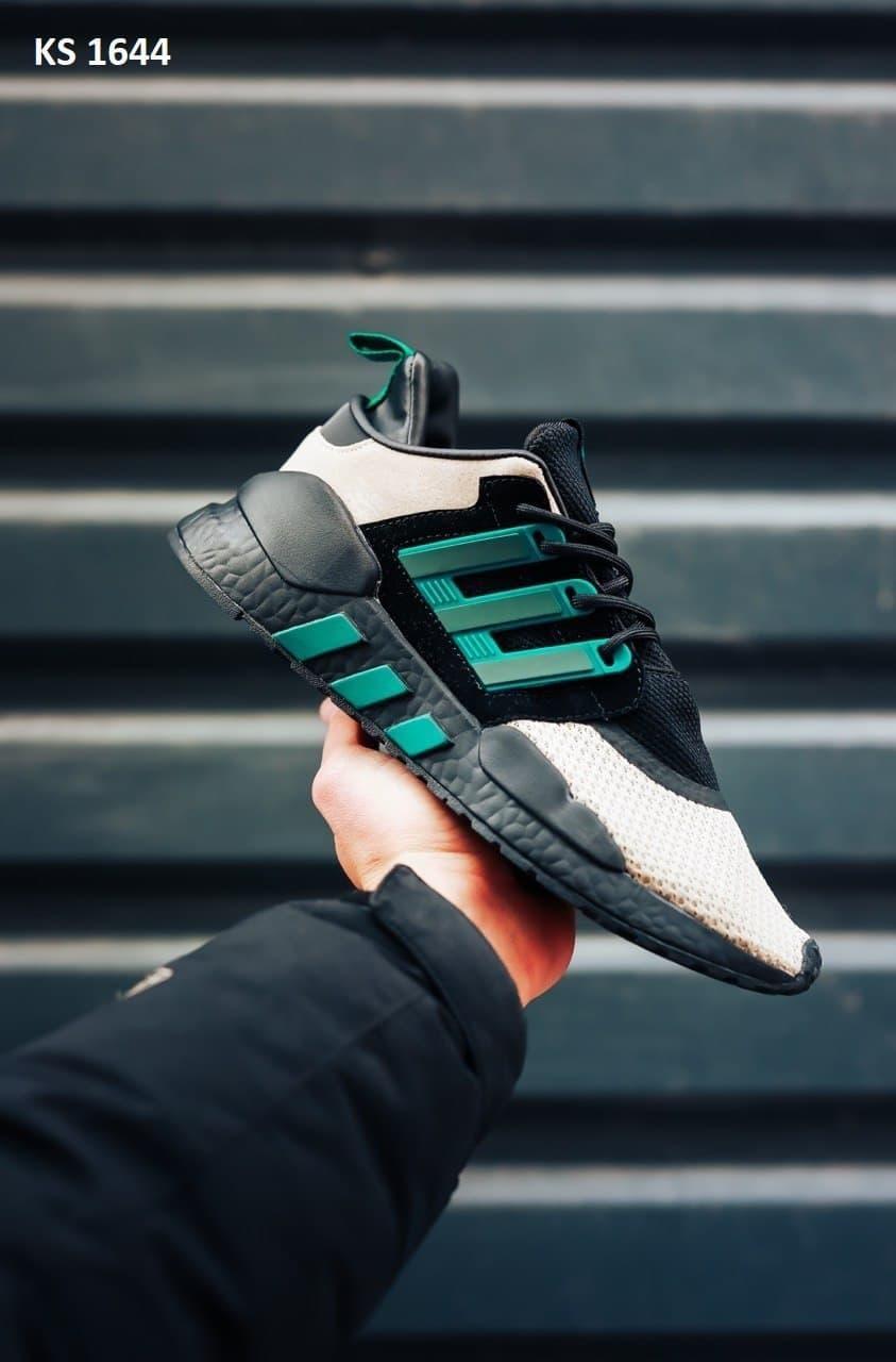 Мужские кроссовки Adidas Equipment (черно-зеленые) KS 1644 спортивная качественная легкая обувь