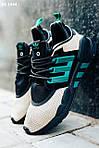 Мужские кроссовки Adidas Equipment (черно-зеленые) KS 1644 спортивная качественная легкая обувь, фото 5