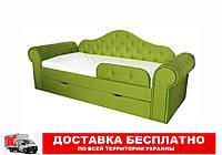 Кровать диван с мягкой обивкой и выездным ящиком Melani  Лайм
