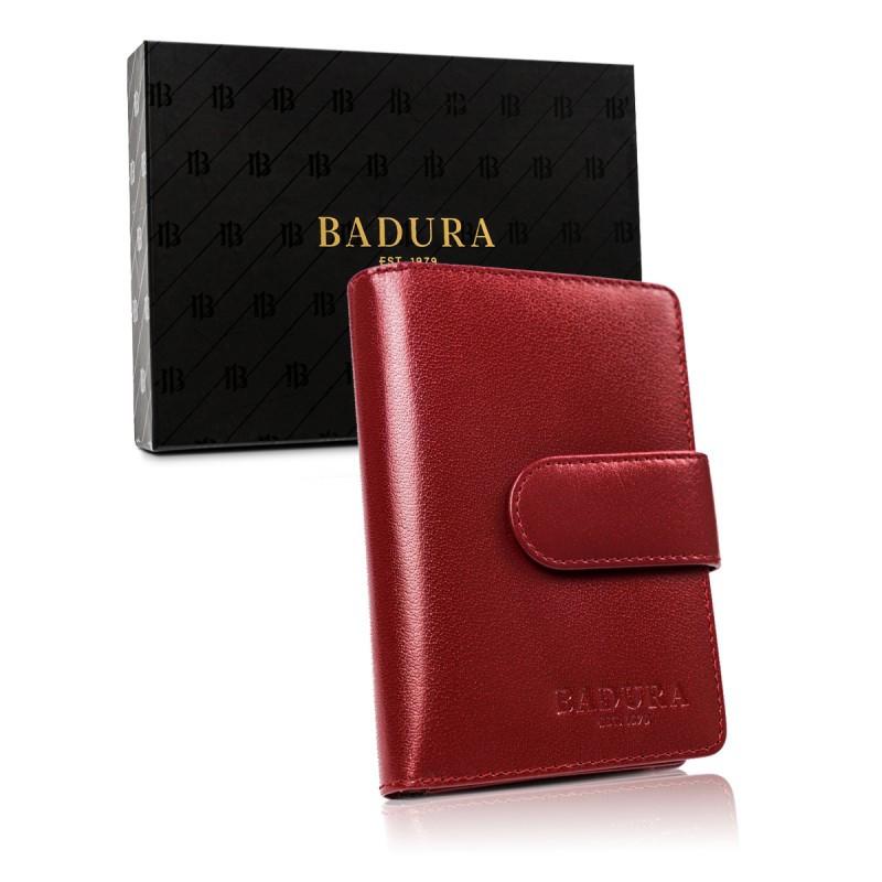 Жіночий шкіряний гаманець Badura з RFID 14 х 9 х 3 (PO_D099CR_CE)  - червоний