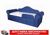 Кровать диван с мягкой обивкой и выездным ящиком Melani  синий