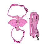 Набор шлея+поводок ANGEL WINGS, розовый, нейлон, 20-29х1см / 1х120см, фото 2