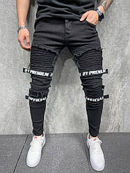 Чоловічі завужені джинси official premium (чорні) рвані з вирізами молодіжні s6136