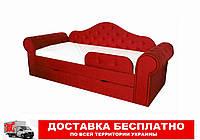 Кровать диван с мягкой обивкой и выездным ящиком Melani  красный