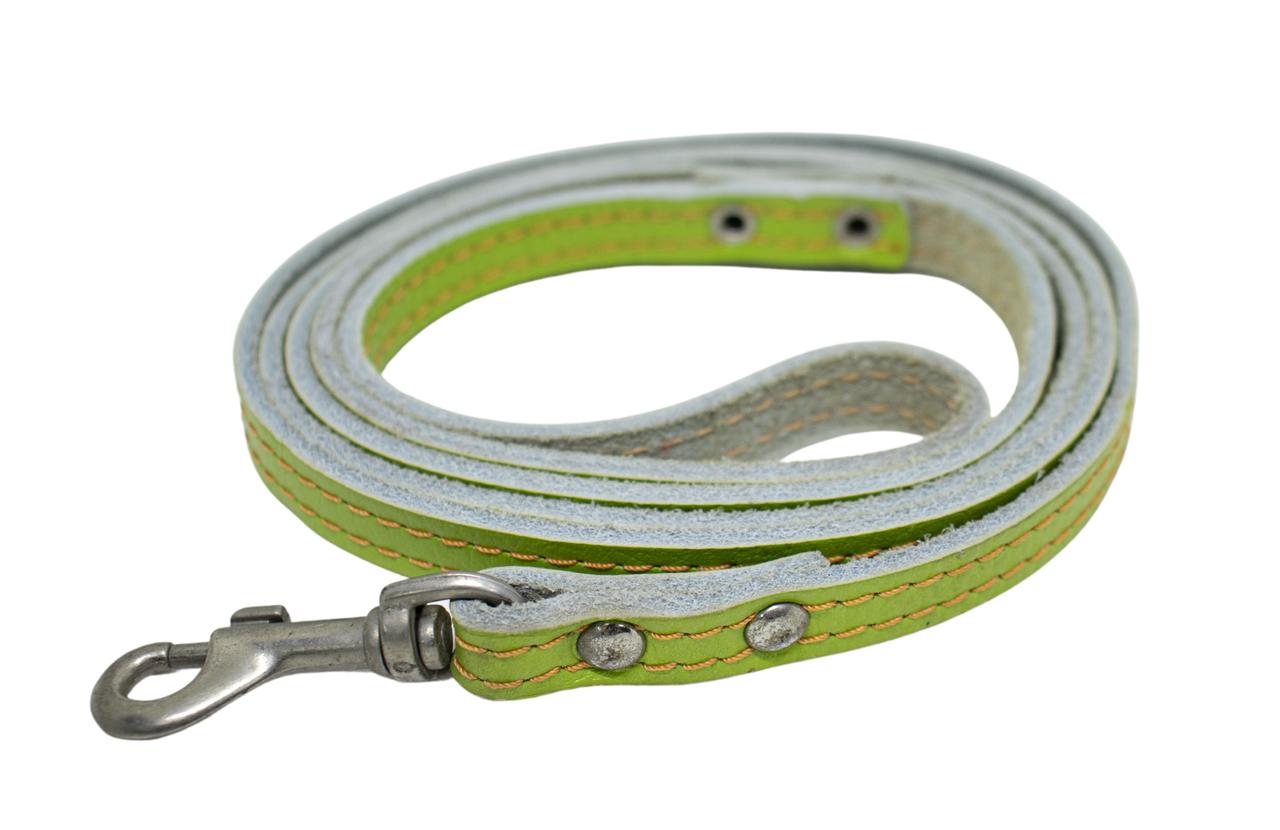 КР2341-39 Поводок Lux прошитый(кожа)12мм/140см, зеленый/зенит/лак
