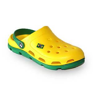 Сабо Jose Amorales жовтого кольору з зеленою підошвою