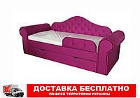 Кровать диван с мягкой обивкой и выездным ящиком Melani  розовый