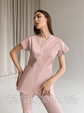 """Куртка медицинская """"МИРО"""". Лиловый (розовый). Рукав короткий. Саталь, фото 2"""
